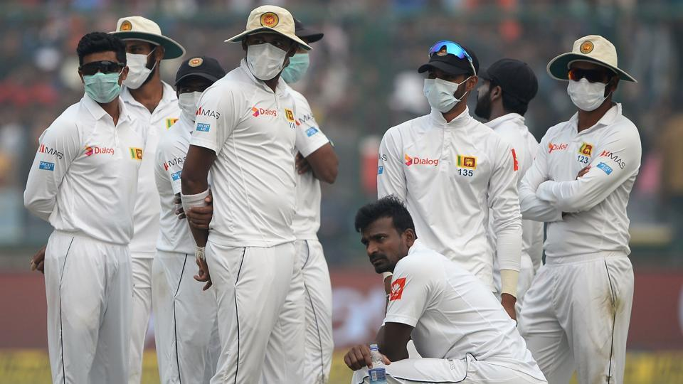 Play was halted for 17 minutes on the second day of third Test between India and Sri Lanka because of pollution. (AFP)