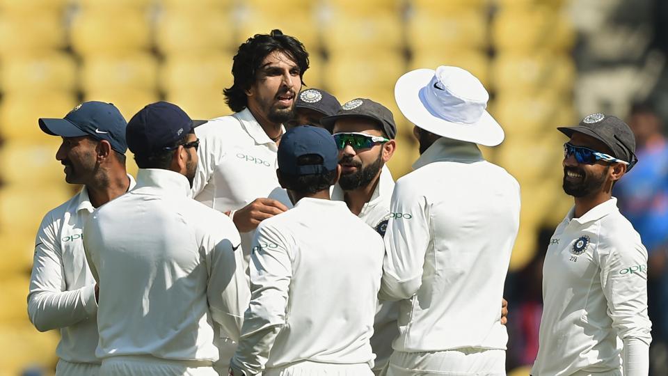 Ishant Sharma celebrates after dismissing a Sri Lankan batsman on Day 2 of the India vs Sri Lanka third Test at the Feroz Shah Kotla in New Delhi on Sunday. Get highlights of India vs Sri Lanka, third Test, Day 2 here