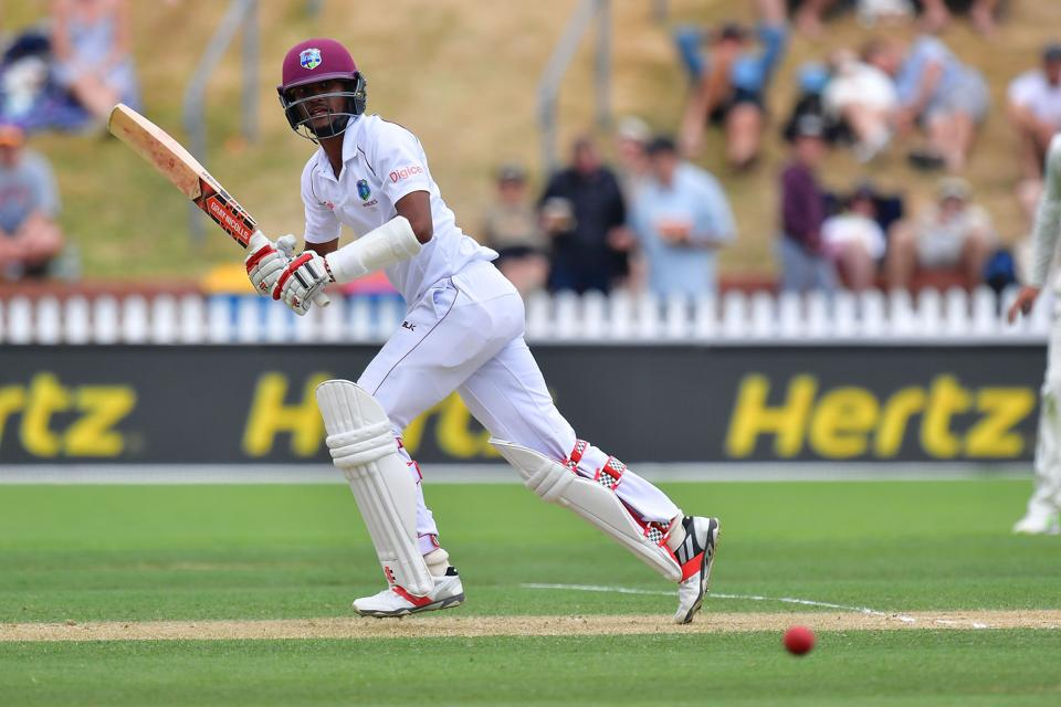 Kraigg Brathwaite bats during day three of the first Test cricket match between New Zealand and the West Indies at the Basin Reserve in Wellington on Sunday.
