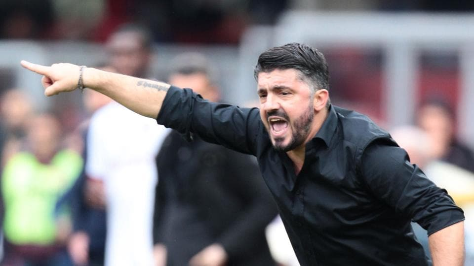 AC Milan's manager Gennaro Gattuso reacts during the Italian Serie A football match against Benevento Calcio on Sunday