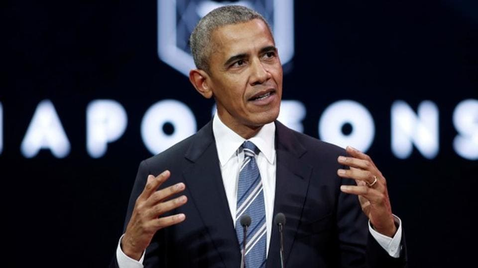 Former US president Barack Obama speaks at a conference during his first visit to France on Saturday.