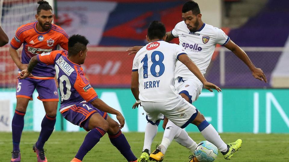 Bikramjit Singh of Chennaiyin FC in action during the Indian Super League encounter. (ISL / SPORTZPICS)