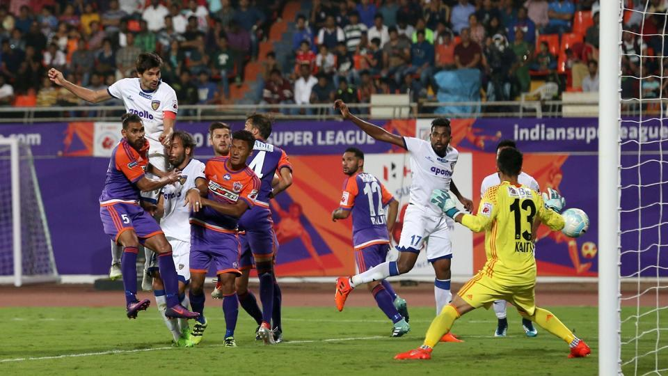 Henrique Sereno of Chennaiyin FC scores the winner vs FC Pune City in an ISL league match in Pune on Sunday.