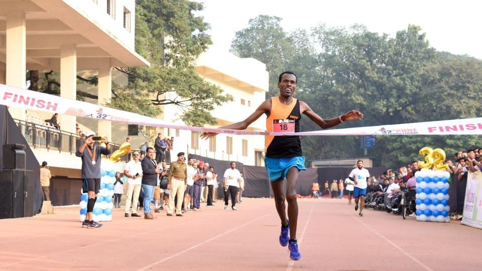Getachew Besha of Ethiopia finished first in the 42-km full marathon event at 32nd Pune International Marathon at Sanas Ground on Sunday.