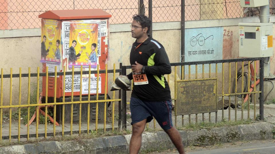 Among Indian runners, Bombay Engineering Group and Centre (BEG) had fielded a large group of runners and as expected, they bagged the top three positions in Indian men's category.  (Ravindra Joshi/HT PHOTO)