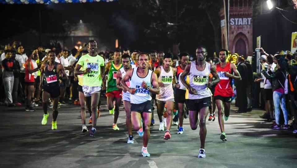 Participants of the 42-km full marathon event at the start of 32nd Pune International Marathon at Sanas Ground on Sunday.