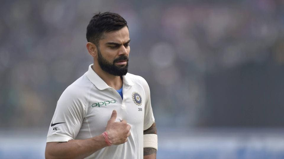 Indian skipper Virat Kohli during the 2nd day of the third Test match against Sri Lanka at Ferozeshah Kotla, in New Delhi.