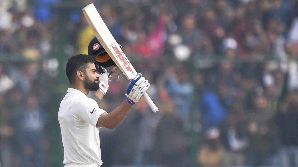 Kohli acknowledges the crowd as he celebrates his sixth double century. (PTI)