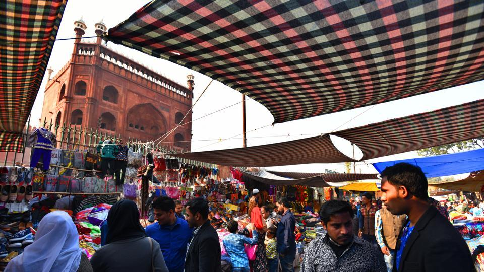 Encroachment at Meena Bazar near Jama Masjid in New Delhi.
