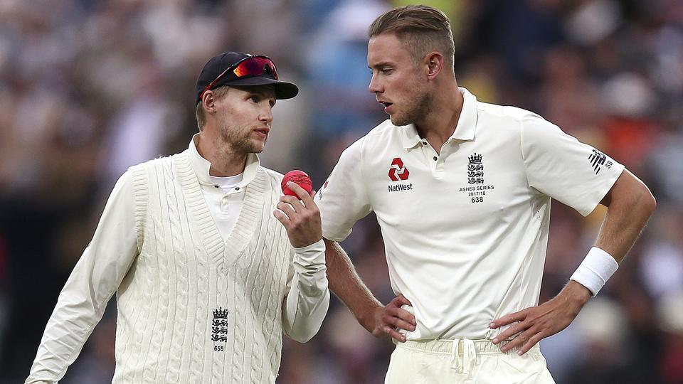 England skipper Joe Root (L) and Stuart Broad during the second day of their Ashes 2017-18 Test in Adelaide.