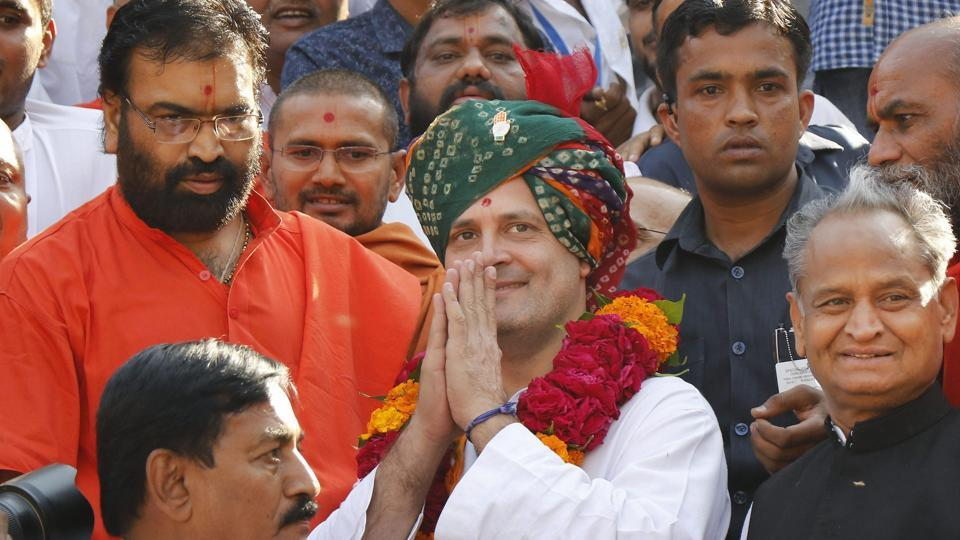 Congress vice president Rahul Gandhi during a visit to the Swaminarayan temple at Gadhada in Botad on Thursday.
