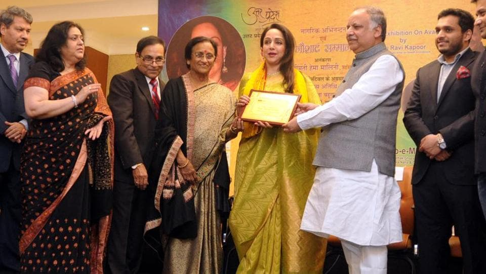 Actor and Member of Parliament, Hema Malini was on Sunday conferred with the 'Naushad Samman' for her expertise in Indian Classical dance.