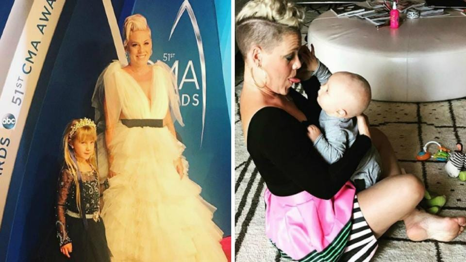Pink with her daughter Willow, and her son, Jameson.