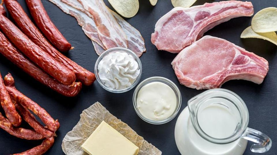 Meat and dairy products contain saturated fats.
