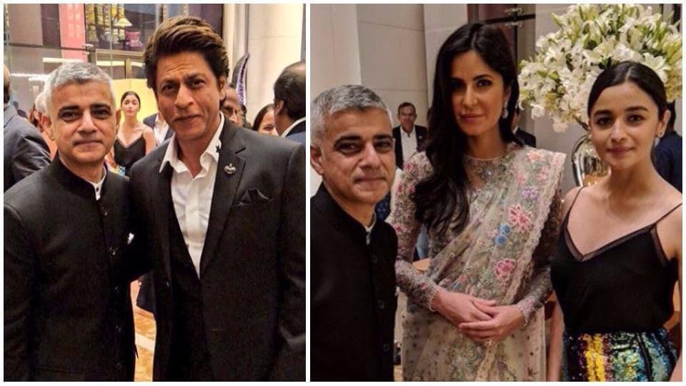Sadiq Khan shared pictures with Shah Rukh Khan, Katrina Kaif, Alia Bhatt and more.