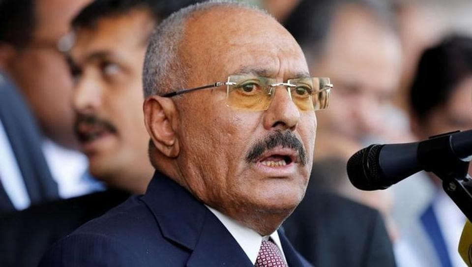 Yemen's former President Ali Abdullah Saleh addresses a rally held to mark the 35th anniversary of the establishment of his General People's Congress party in Sanaa, Yemen August 24, 2017. Picture taken August 24, 2017.