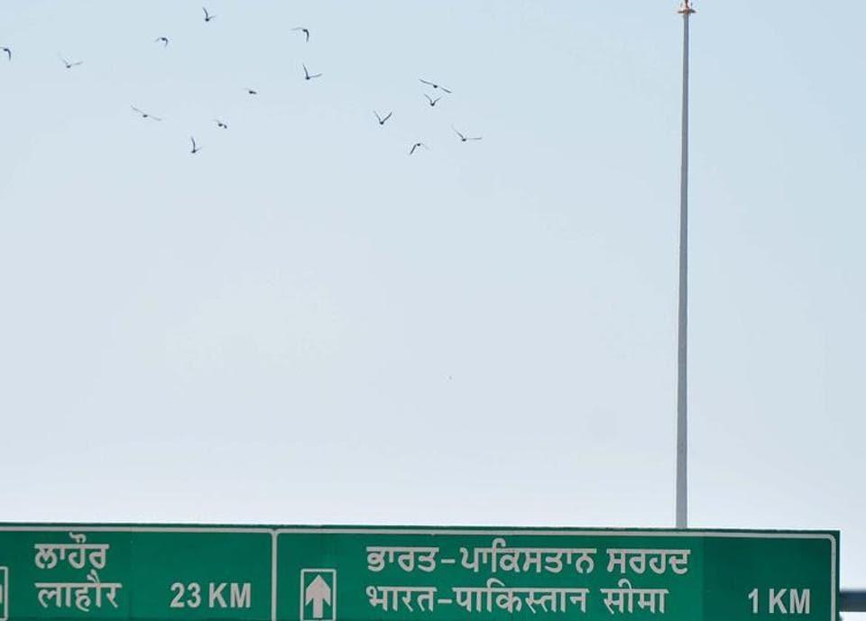 The 360-ft pole meant for the Tricolour near the Attari-Wagah border.