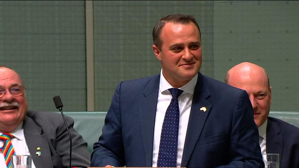 In this TV grab released by Australian Parliament via Seven News, lawmaker Tim Wilson proposes to his partner Ryan Bolger in Parliament in Canberra on December 4, 2017.