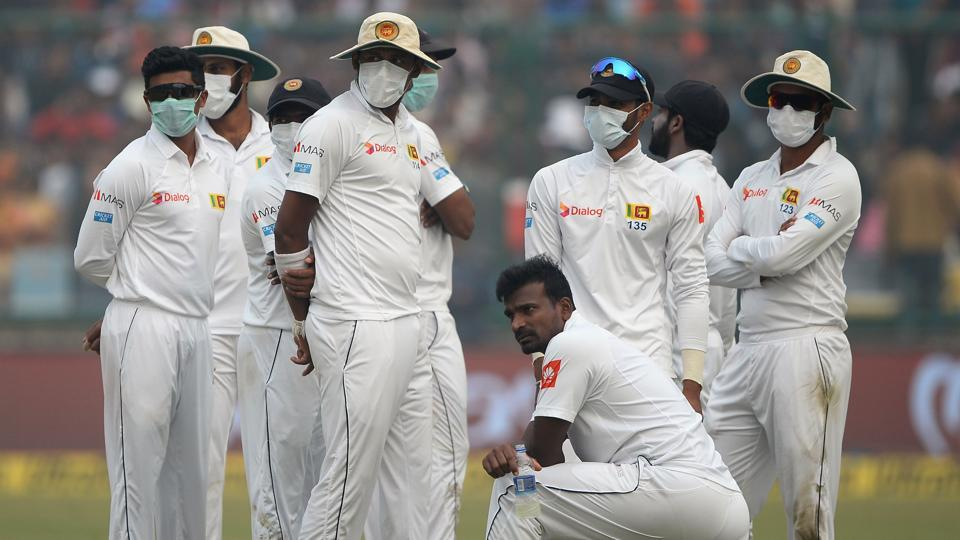 Pollution in New Delhi temporarily held up play during the 3rd Test between India and Sri Lanka in New Delhi on Sunday.