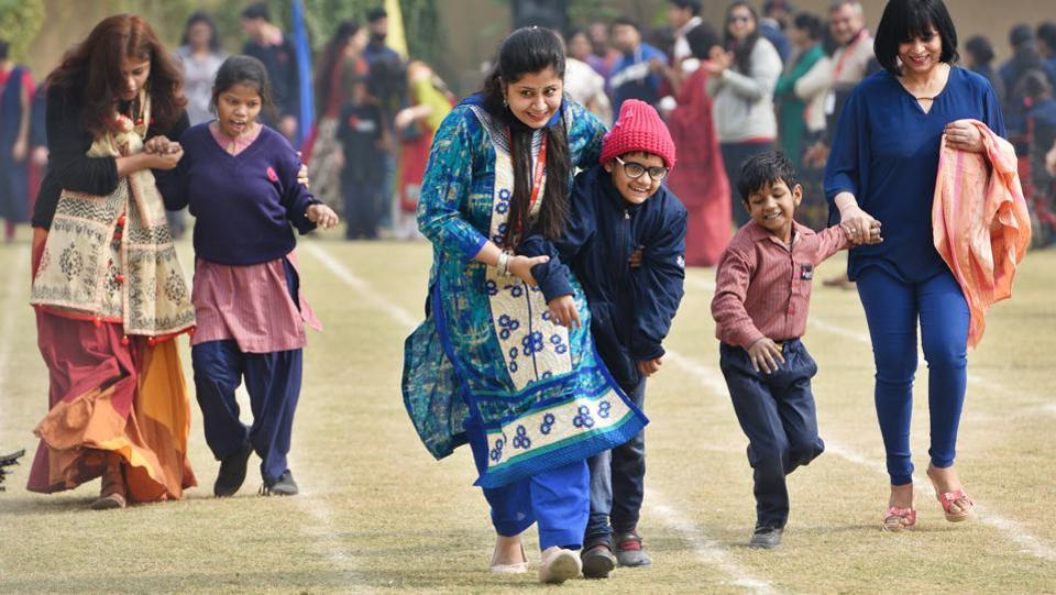 Sparsh, an NGO organised events for special children at a Presidium School on the occasion of the World Disability Day in Gurgaon on December 03. The observance of the day, proclaimed by the UN general assembly in 1992, aims to promote an understanding of disability issues and mobilize support for the dignity, rights and well-being of persons with disabilities. (Sanjeev Verma/HT PHOTO)