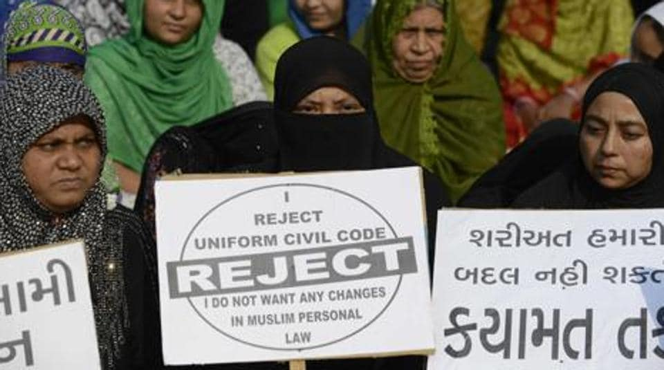 "This file photo shows Muslim women at a rally to oppose the Uniform Civil Code that would outlaw the practice of ""triple talaq""."