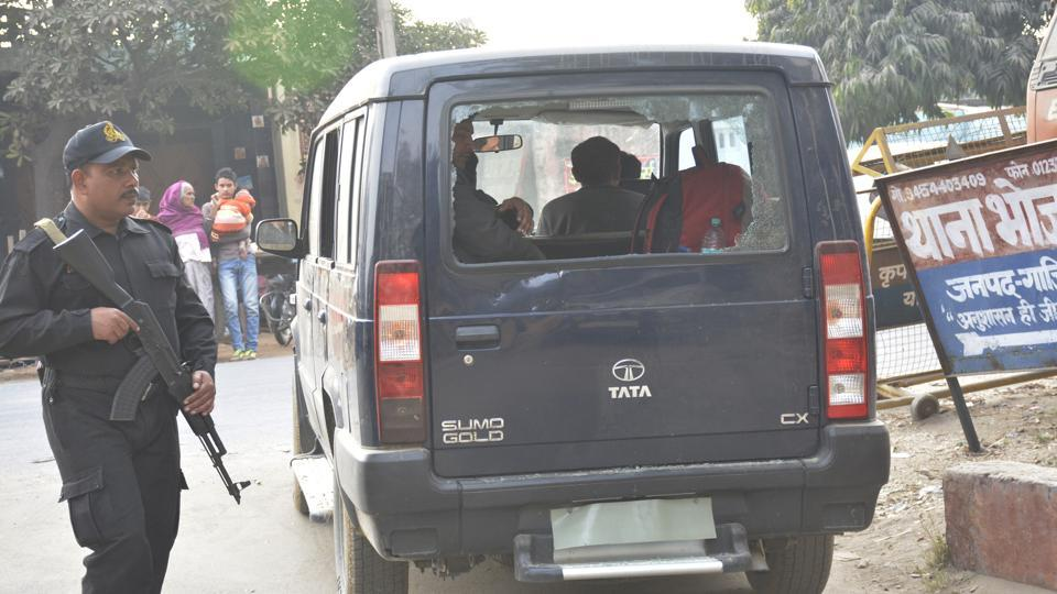 Vehicle damaged in attack on cops in Ghaziabad's Nahali.