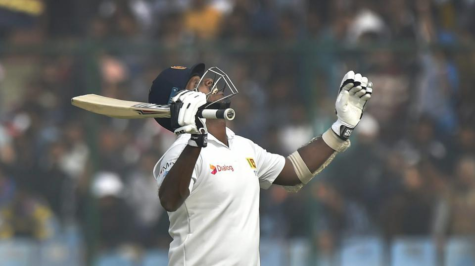 Sri Lanka's Angelo Mathews celebrates his century against India during the third day of third Test match.