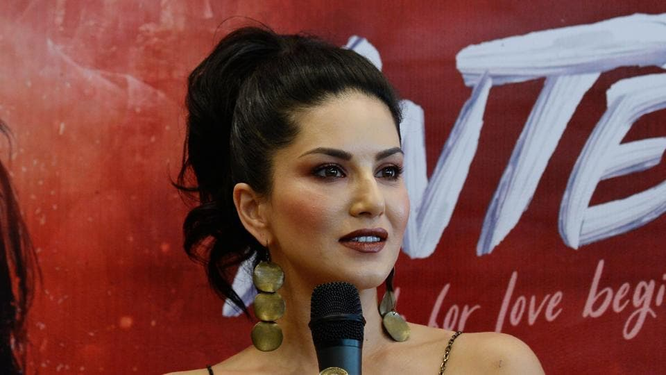 Sunny Leone during a promotional event for her upcoming movie Tera Intezaar in New Delhi.