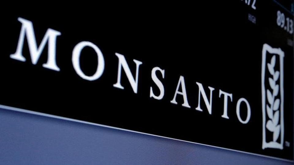 Monsanto logo is displayed on a screen where the stock is traded on the floor of the New York Stock Exchange (NYSE) in New York City, U.S., May 9, 2016.
