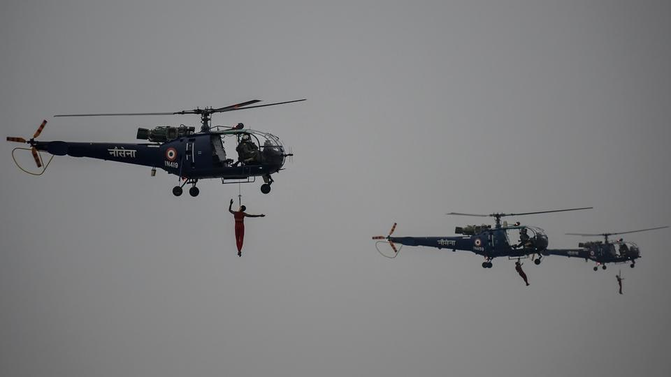 Indian Navy personnel performing operations over the Arabian sea. (Kunal Patil/HT PHOTO)