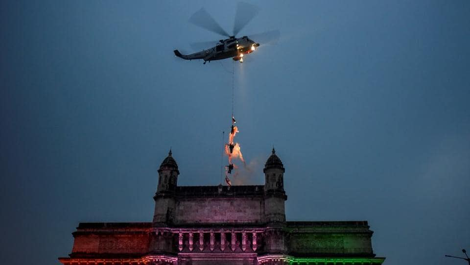 The Beating Retreat ceremony held at Mumbai's Gateway of India. (Kunal Patil/HT)