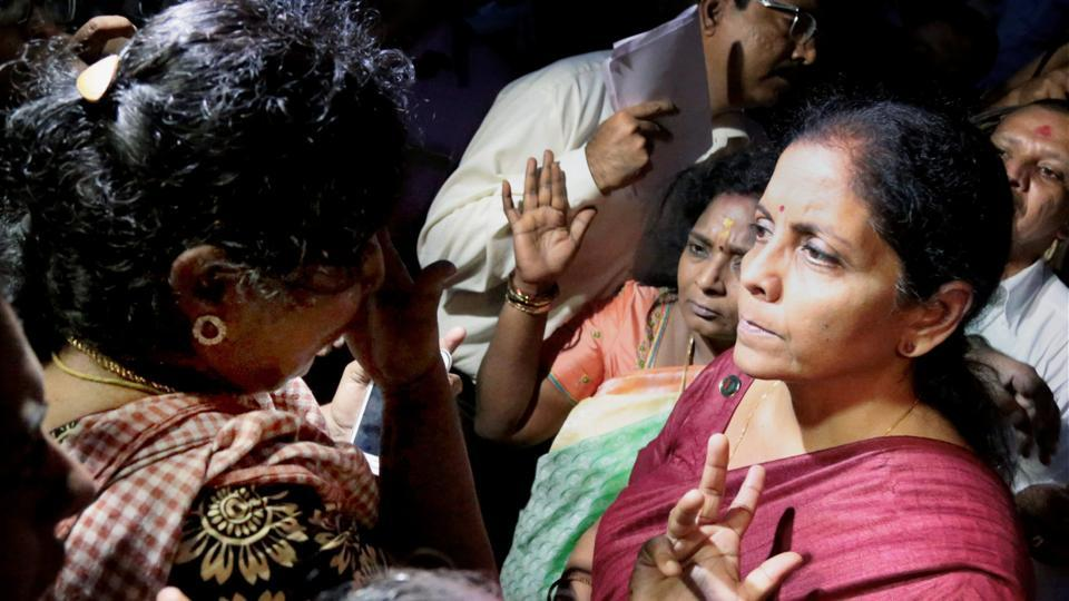 "Union Minister for Defence, Nirmala Sitharaman met with people affected by Cyclone Ockhi in the flood-hit Kanyakumari district on Sunday. Sitharaman said today that representatives of fishermen will also be included in the ongoing search operations in Kerala, adding that warships had been deployed for the rescue operation which is ""more intense"" than the one during the 2004 tsunami. (PTI)"
