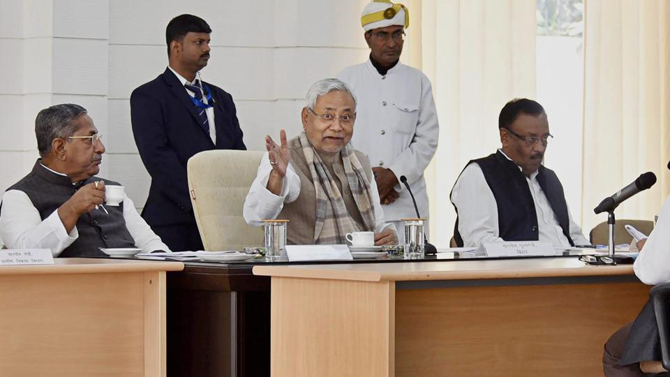 Bihar chief minister Nitish Kumar addresses a press conference at his official residence in Patna on Monday.