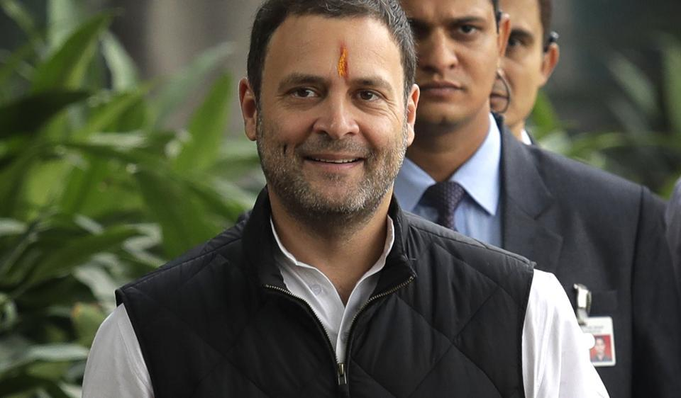 Congress party vice president Rahul Gandhi arrives to file his nomination papers at the party headquarters, in New Delhi.