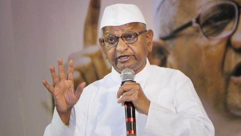 Social activist Anna Hazare addressing during the executive members meeting of Naba Nirman Krushak Mahasangh (NNKM), in Bhubaneswar on November 22, 2017.