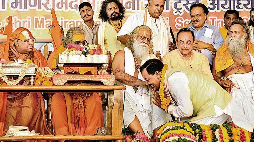 BJP leader Subramanian Swamy at the birthday celebrations of Ram Janmabhoomi Nyas chief Mahant Nritya Gopal Das in Ayodhya.