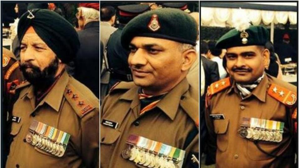 Param Vir Chakra winners Capt Bana Singh 9(eft), Naib Subedar Sanjay Kumar (centre) and Subedar Yogender Yadav (right) will be attending sessions on both days of the Military Literature Festival in Chandigarh.