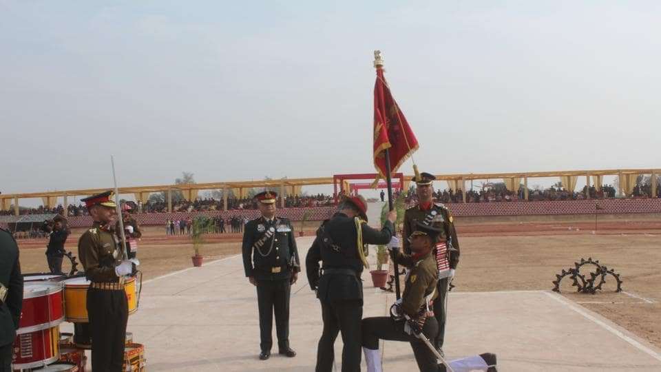 Army chief Gen Bipin Rawat during presentation of the President's Standard to three regiments in Suratgarh Military Station on Tuesday.