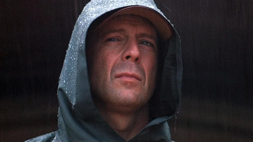 Bruce Willis as David Dunn in Unbreakable.