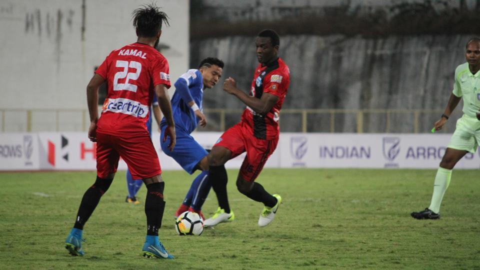 Minerva Punjab FC (in red) defeated Indian Arrows 2-0 to jump to the top of the I-League table.