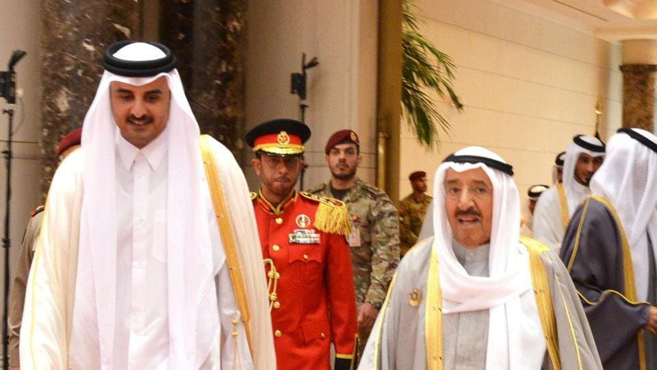 Emir of Kuwait Sabah Al-Ahmad Al-Jaber Al-Sabah and Emir of Qatar Sheikh Tamim bin Hamad al-Thani upon his arrival to attend the annual summit of Gulf Cooperation Council (GCC), in Kuwait City, on Tuesday.
