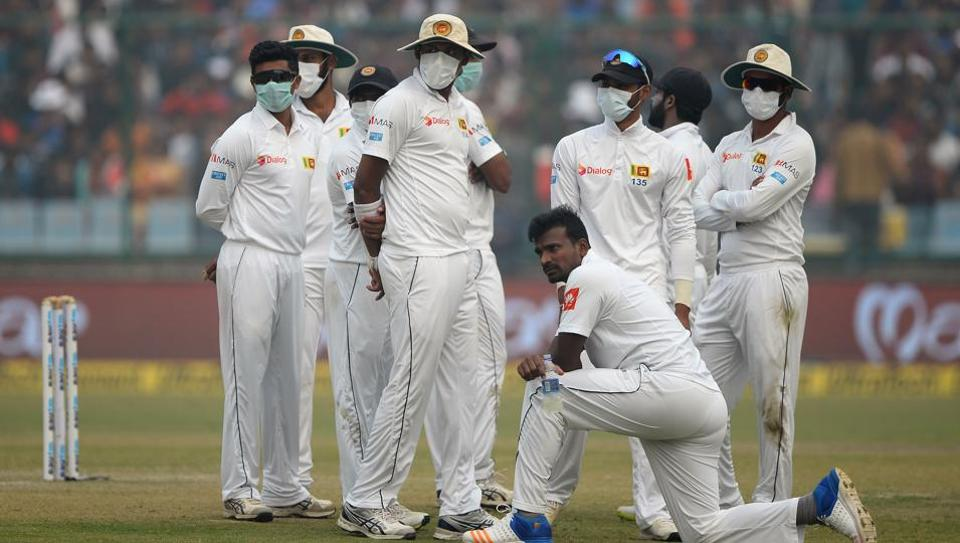 Sri Lankan cricketers wearing masks in an attempt to protect themselves from air pollution in Delhi during the third Test against India at the Feroz Shah Kotla Stadium. Unprecedented scenes of Sri Lankan cricketers wearing face masks has reignited debate about hosting major sports in heavily polluted New Delhi, where doctors are increasingly vocal about the health risks posed by smog.
