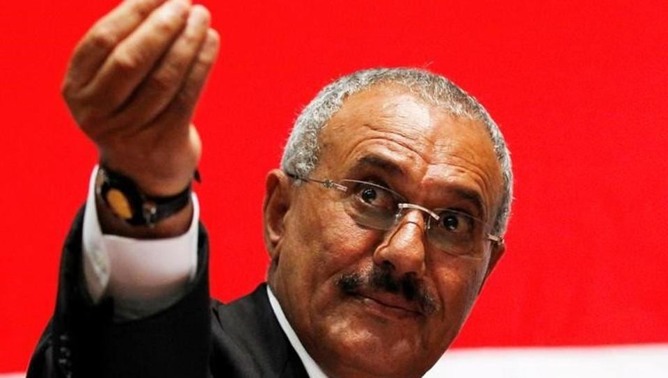 File photo of Yemen's former president Ali Abdullah Saleh gesturing during a gathering of supporters in Sanaa.
