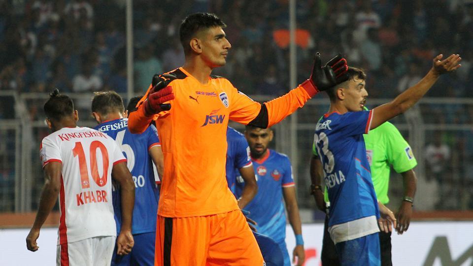 Gurpreet Singh Sandhu of Bengaluru FC was sent off during the Indian Super League game against FC Goa.