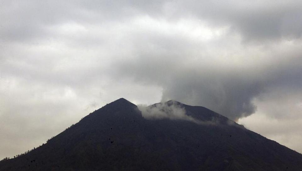 Mount Agung volcano is seen in Karangasem, Bali, Indonesia.