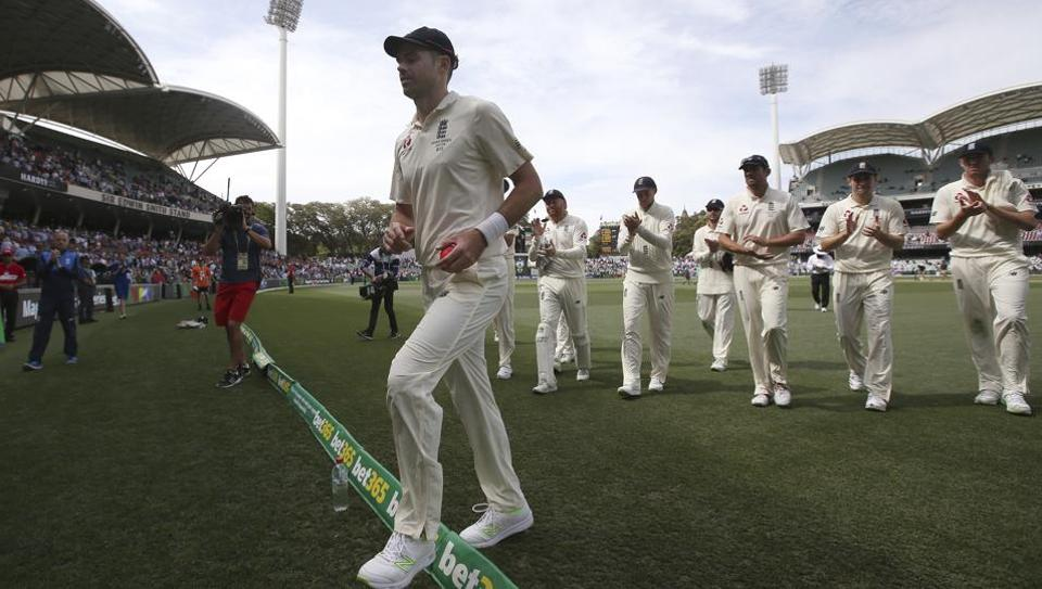 England's James Anderson walks off with the ball after taking 5 wickets against Australia during the fourth day of their Ashes cricket Test match in Adelaide, Tuesday, Dec. 5.