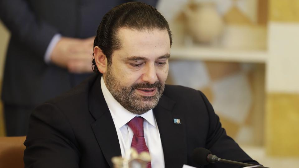 Lebanese Prime Minister Saad Hariri at a cabinet meeting at the presidential palace of Baabda, east of the capital Beirut, on December 5, 2017.
