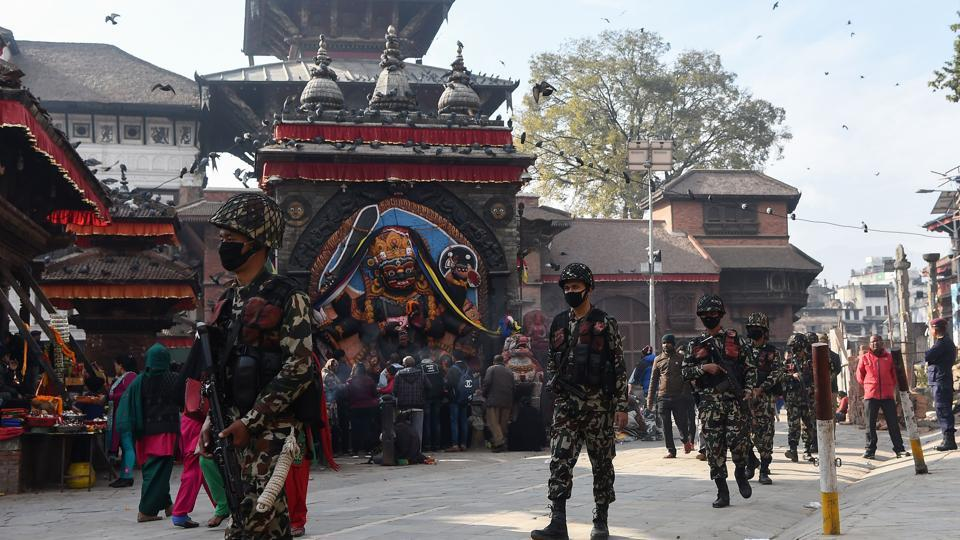 Nepali soldiers patrol in Durbar Square ahead of the upcoming elections in Kathmandu on Tuesday.