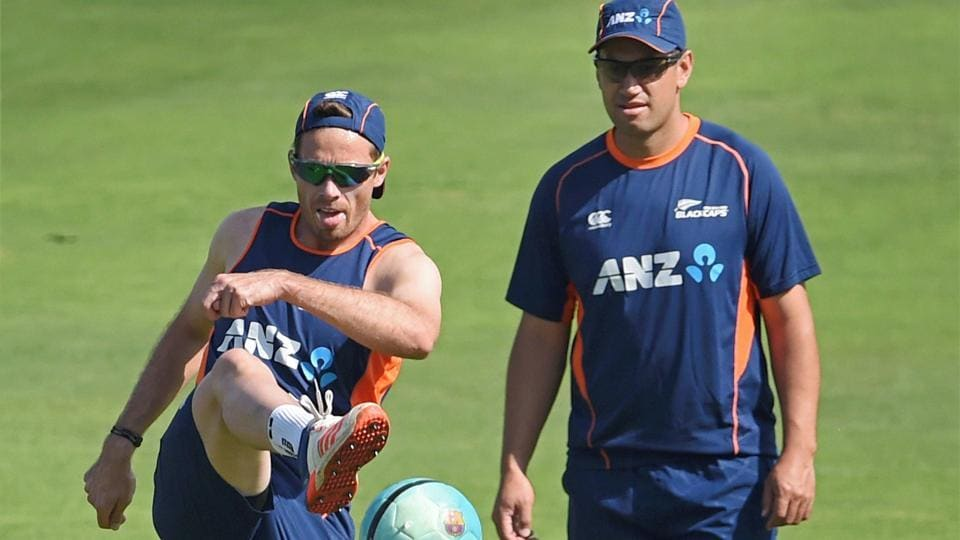 New Zealand players Tim Southee (left) and Ross Taylor during a practice session in Pune earlier this year. Southee returns for the second Test vs West Indies starting in Hamilton on Saturday.