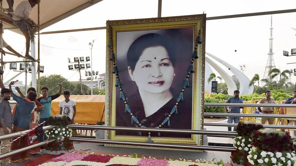 Burial place of former Tamil Nadu chief minister J Jayalalithaa.